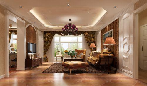 简欧风格三居室客厅窗帘装修效果图欣赏