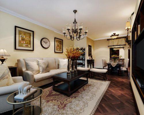 简欧风格三居室客厅壁纸装修效果图