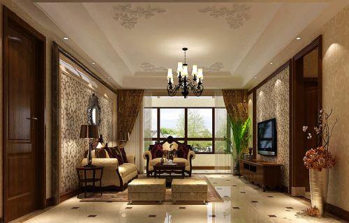 简欧风格四居室客厅窗帘装修效果图