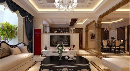 简欧风格三居室客厅背景墙装修效果图