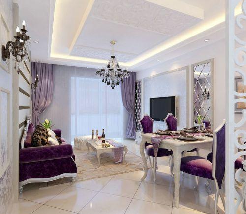 简欧风格三居室客厅沙发装修效果图大全