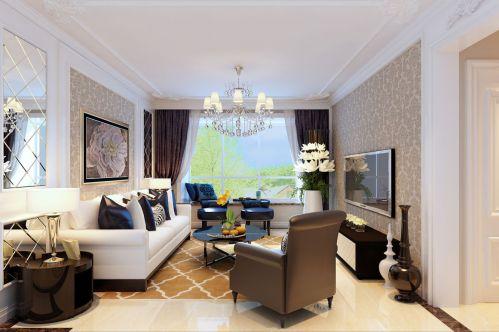 简欧风格三居室客厅窗帘装修效果图大全