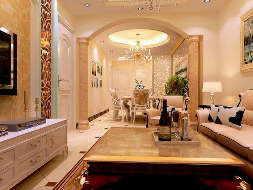 简欧风格二居室客厅背景墙装修效果图大全