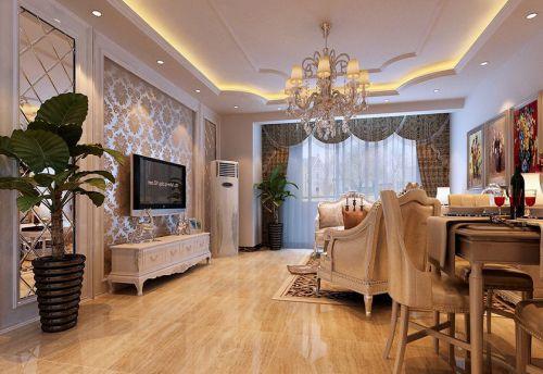 简欧风格二居室客厅窗帘装修效果图大全
