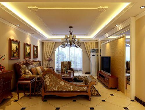 简欧风格三居室客厅背景墙装修效果图大全