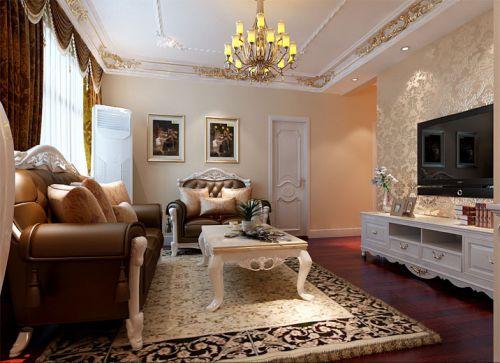 简欧风格二居室客厅电视柜装修图片
