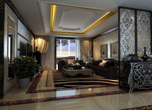 简欧风格三居室客厅照片墙装修效果图大全