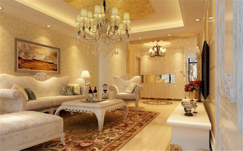 简欧风格三居室客厅茶几装修图片
