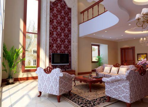 简欧风格四居室客厅窗帘装修效果图大全