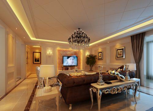 简欧风格三居室客厅吊顶装修效果图