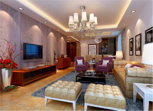 简欧风格三居室客厅影视墙装修效果图