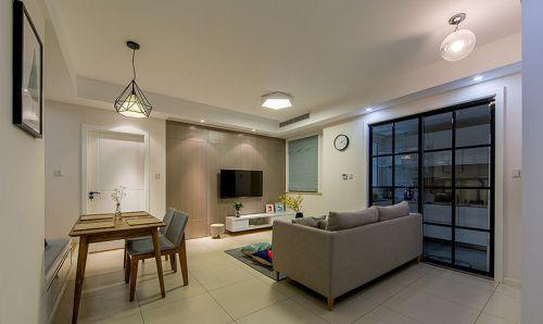 简欧风格二居室客厅背景墙装修效果图欣赏
