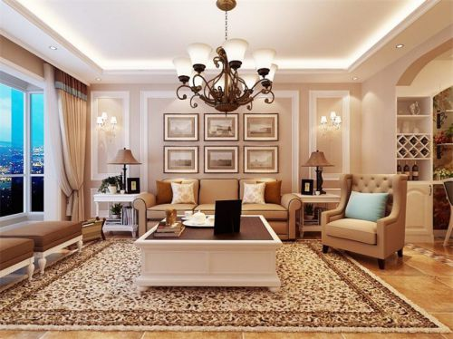 简欧风格二居室客厅灯具装修图片