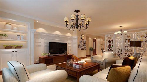 简欧风格三居室客厅背景墙装修效果图欣赏