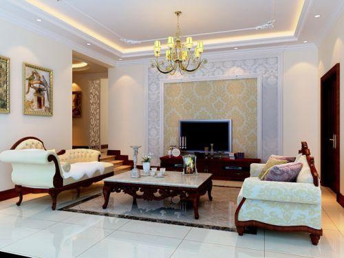 简欧风格五居室客厅隔断装修效果图欣赏