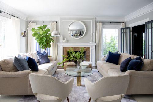 清新自然简欧风格客厅玻璃茶几效果图