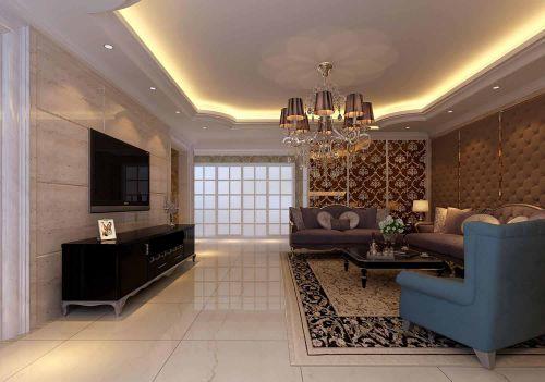 客厅简欧风格黑色大气电视柜效果图