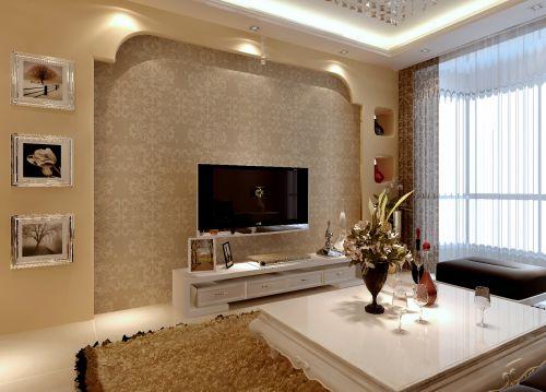 客厅简欧风格实用白色电视柜效果图