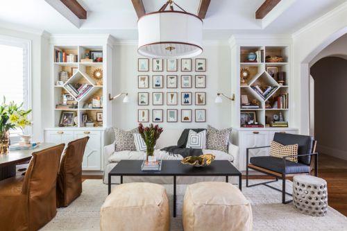 简欧风格温馨雅致客厅书架设计效果图