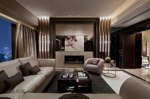 咖啡色系雅致大气简欧风格客厅效果图