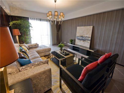 中式风格三居室客厅吧台装修效果图