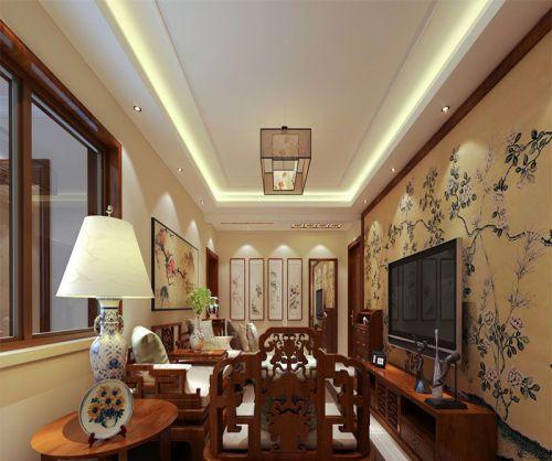 中式风格二居室客厅吊顶装修图片