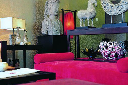 中式古典五居室客厅吊顶装修效果图欣赏