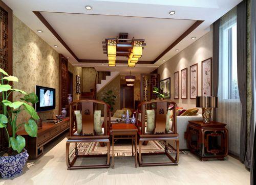 中式风格四居室客厅电视柜装修效果图欣赏