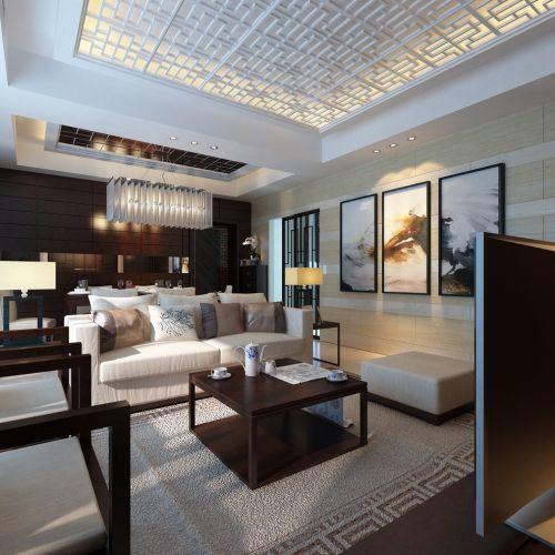 都市中式风格客厅实木茶几装修设计