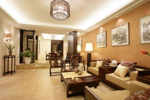 暖意现代中式风格复古客厅装修实景图