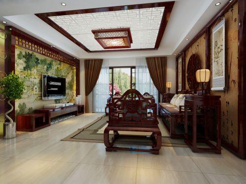别墅中式风格客厅彩绘电视背景墙效果图