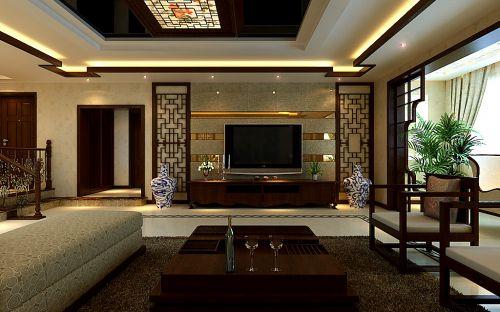 中式风格六居室以上客厅装修图片欣赏