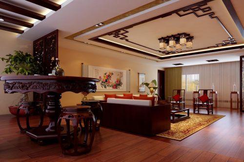 中式风格客厅吊顶装修设计效果图