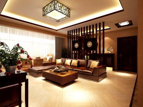 中式现代两居客厅屏风装修效果图