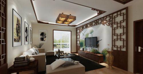 146平三居室中式古典客厅吊顶效果图