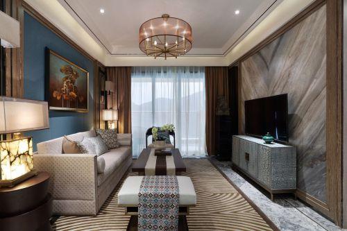 轻奢质感中式风格客厅背景墙装修图片