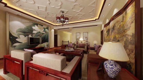 典雅中式风格客厅彩绘电视背景墙效果图