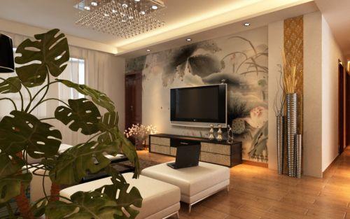中式风格客厅电视背景墙典雅壁纸装修图片