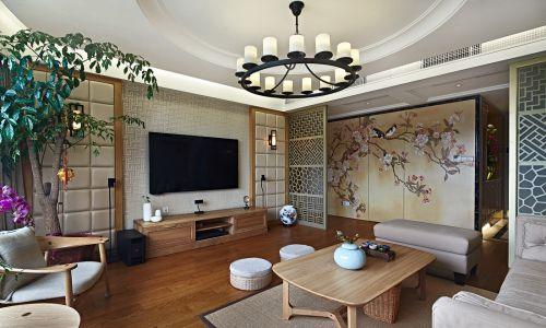 中式风格原木色韵味客厅装修实景图