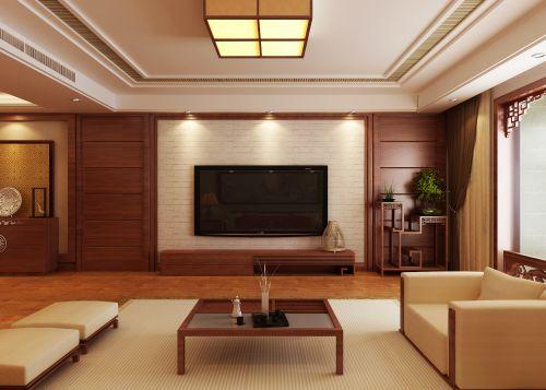 三居室中式风格客厅米色吊顶效果图