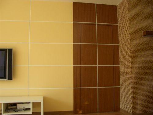 118平米中式三居室黄色客厅隐形门装修效果图