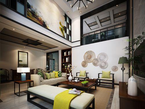 新中式风格清新优雅别墅客厅装修效果图