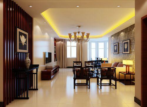 中式简约沙发大理石背景墙客厅装修效果图