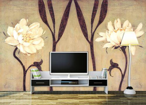 古韵中式风格客厅电视背景墙绘装修效果图