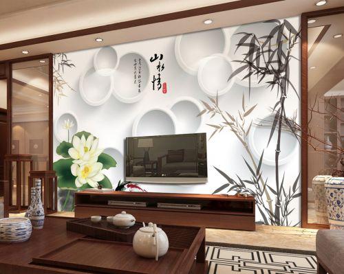 白色中式风格客厅电视背景墙绘装修效果图