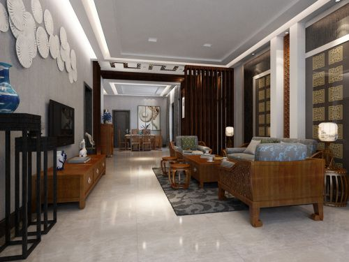 时尚公寓客厅新中式装修样板间