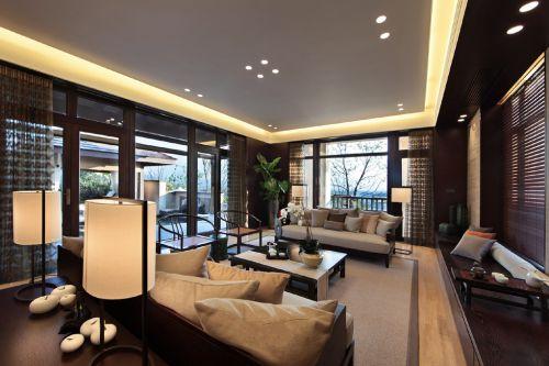 时尚别墅客厅新中式装修样板间