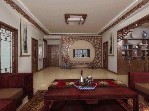 四居室中式客厅四方红木吸顶灯效果图