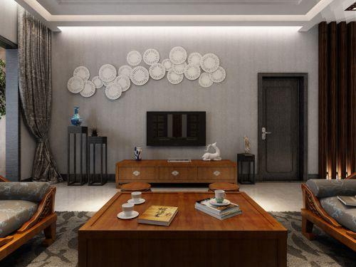 时尚二居室客厅新中式装修样板间