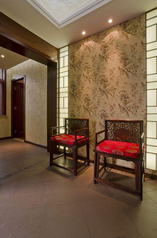 新中式别墅客厅室内地板砖装修效果图